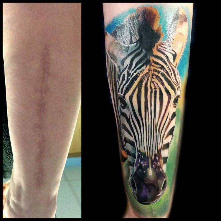 zebra tattoo covering scar