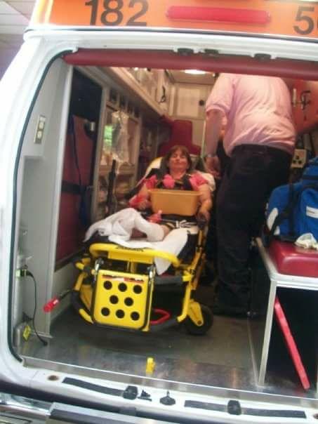 woman in an ambulance