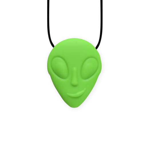 Necklace featuring a neon green alien
