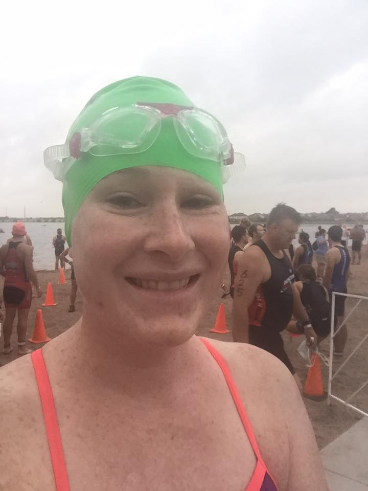 woman with melanoma cancer at triathlon