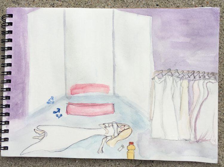 watercolor painting of a woman fainting at her wedding dress fitting