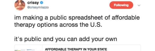 """Tweet from Crissy Milazzo which reads """"im making a public spreadsheet of affordable therapy options across the U.S. it's public and you can add your own."""""""