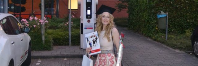 woman at college wearing her graduation cap