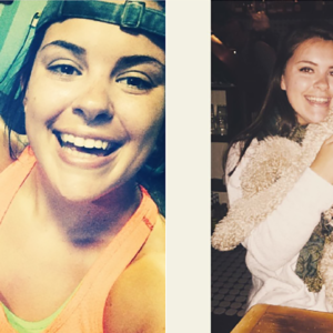 two images of same young woman side by side smiling, picture on the right holding a dog