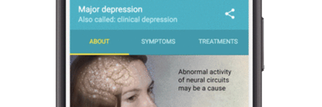 Image of google results for when you search depression. Shows a woman with her brain as an overlay and explains that depression may be caused by abnormal brain activity.
