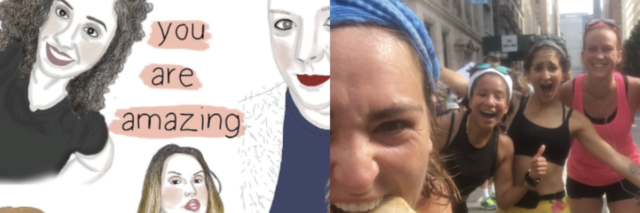 dual photo of illustrations of women and woman running