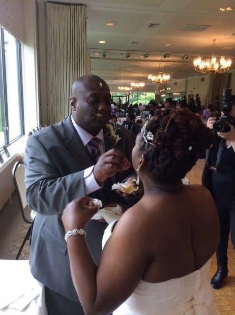 Rashida and Mike at their wedding reception.