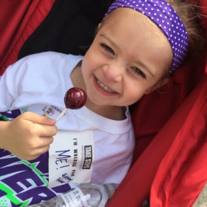 young girl participating in a walk for crohn's disease