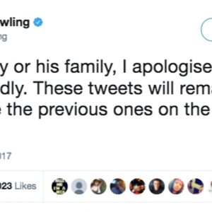 "Tweet from JK Rowling which reads ""to that boy or his family, I apologise unreservedly. These tweets will remain, but I will delete the previous ones on the subject."""