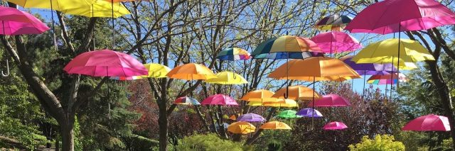 colorful umbrellas hanging in the park with the text 'thee life me and i'll lift thee and we'll ascend together'