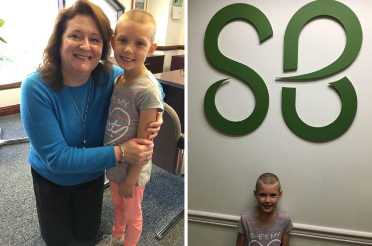 Lindsay visiting St. Baldrick's building