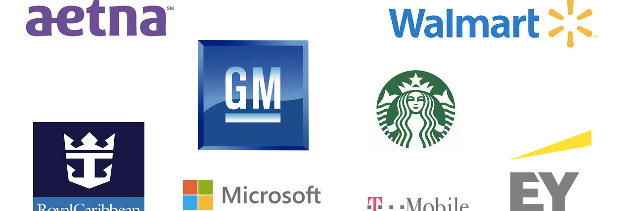 logos for Starbucks, EY, Walmart, Aetna, Royal Caribbean, Microsoft, T-Mobile, GM
