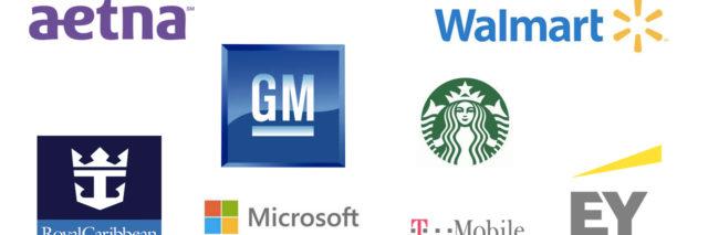 logos for Starbucks, EY, Walmart, Aetna, Royal Caribbean, Microsoft, T-Mobile, GM