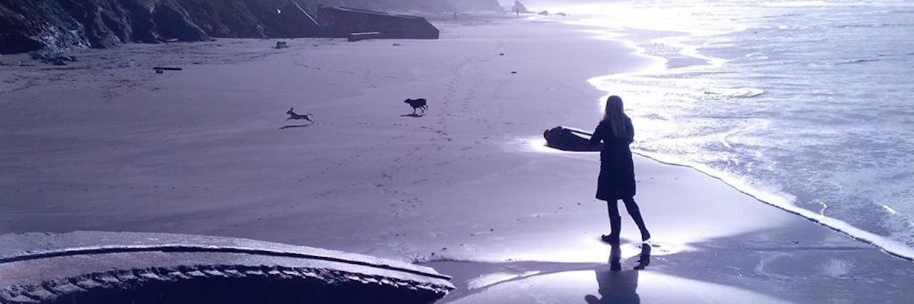 woman playing on the beach with her dogs
