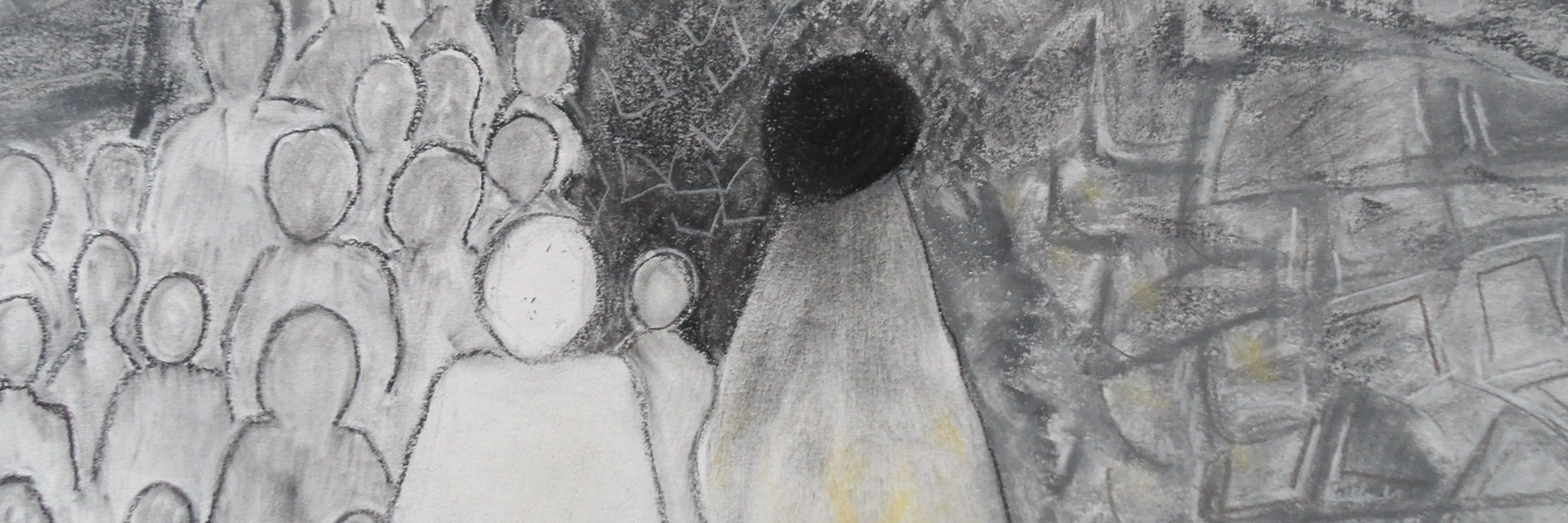black and white drawing of multiple silhouetted people in crowd
