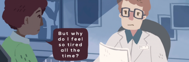 screenshot from 'robin' video game of a man asking the doctor 'but why do I feel so tired all the time?'