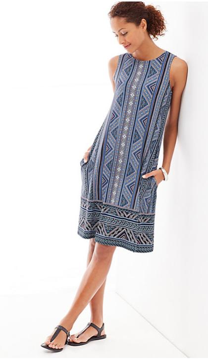 j jill blue printed dress