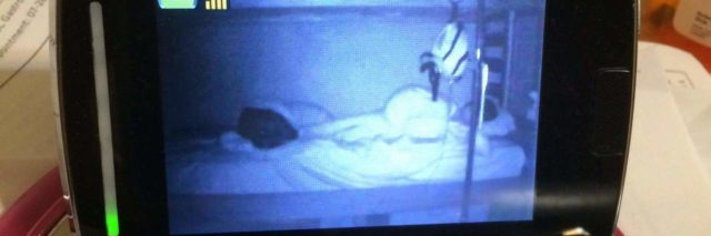 Video monitor image of child