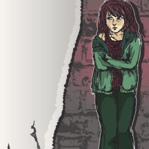 girl standing against a brick wall, looking scared and depressed