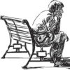 man sitting on bench sketch