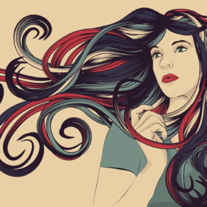 """Beautiful woman with long colorful flowing hair. Face, hair and background are on separate layers. Each hair strand is individual object. Easily change colors . Extra folder includes Illustrator CS2 AI and PDF files."""