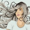 """Beautiful woman with long hair blowing in the wind. Face, hair and background are on separate layers. Each hair strand is individual object. Easily change colors . Extra folder includes Illustrator CS2 AI and PDF files."""