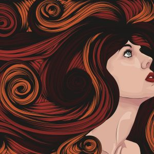 Beautiful woman looking up with long curly hair. Face and hair are on separate layers. Each hair strand is individual object. Cropped via clipping mask. Extra folder includes Illustrator CS2 AI and PDF files.