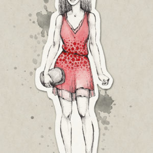 A fashionable illustration of a young girl.