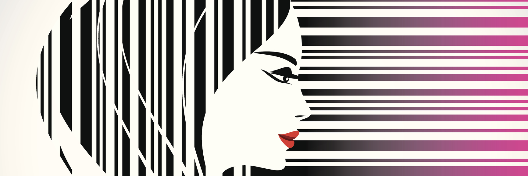 An illustration of a woman, who also flows into a barcode concept.