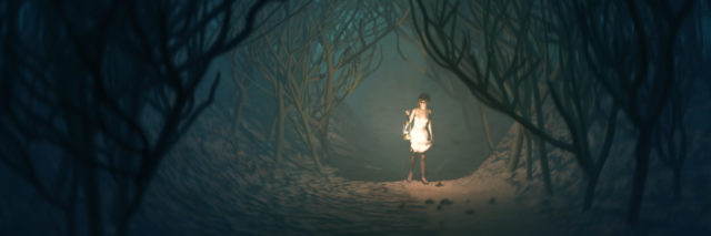 woman in white dress with lamp walking through dark forest