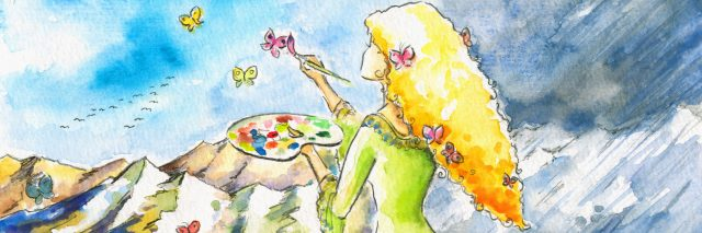 A woman painting butterflies in the sky.