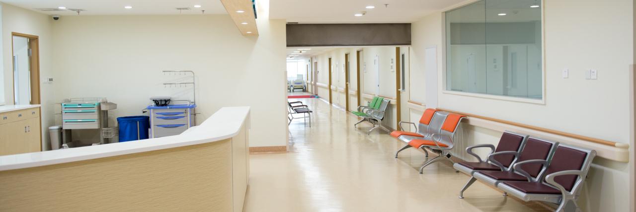 Empty nurses station in a hospital.