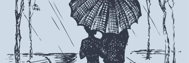 Vector romantic scene. Couple with umbrella walking along the avenue in the rain