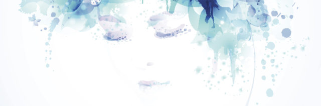 illustration of woman's face surrounded by blue flowers
