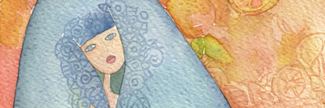 watercolor painting of woman in blue coat surrounded by orange background