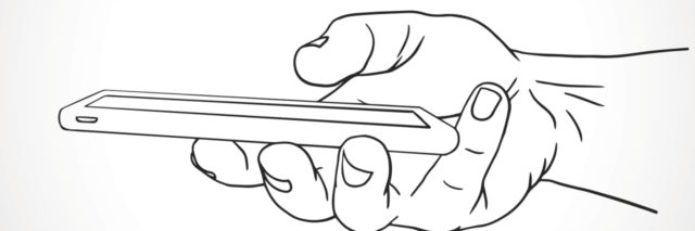 Hand Holding Mobile, side view. Vector illustration