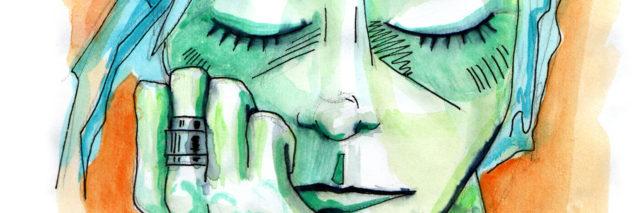 woman thinking sketch