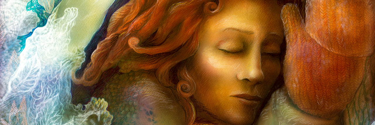 Beautiful fantasy colorful painting of a radiant dreaming fairy woman with red hair and winter glowes by a tree trunk, with closed eyes