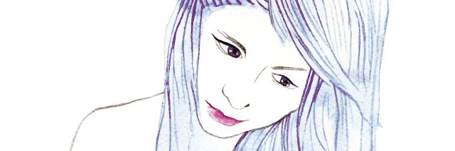 illustration of a woman looking down