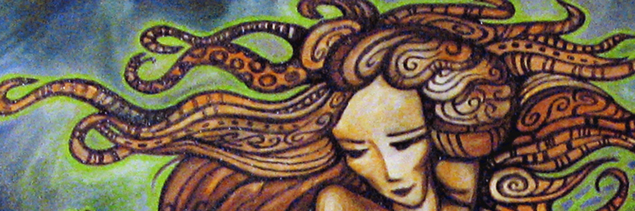 Pandora's Box. Abstract colorful painting of women's profile