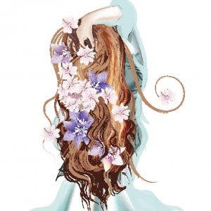 back of woman's head with long brown hair with flowers in it