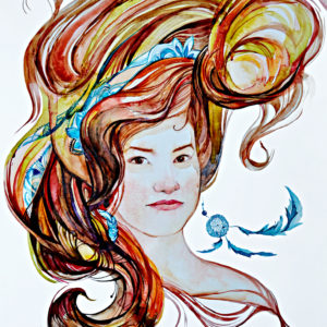 Portrait of a girl with long hair and an earring