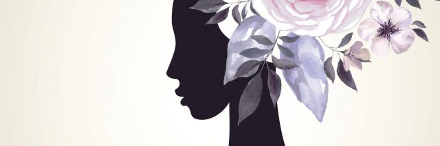 silhouette of woman with pink and purple flowers around her head