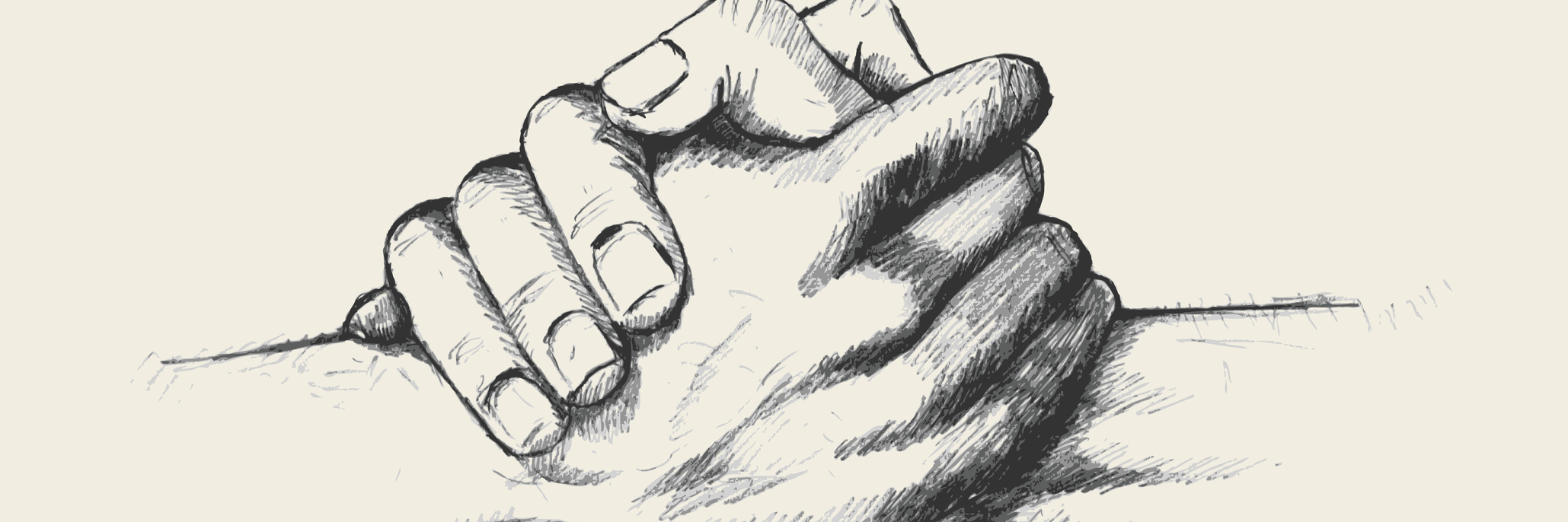 Pencil sketch of two hands holding each other