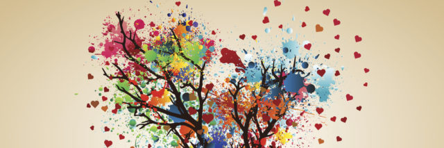Illustration of heart-shaped tree with leaves represented by splashes of paint and hearts