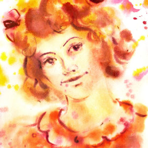 watercolor painting of a woman