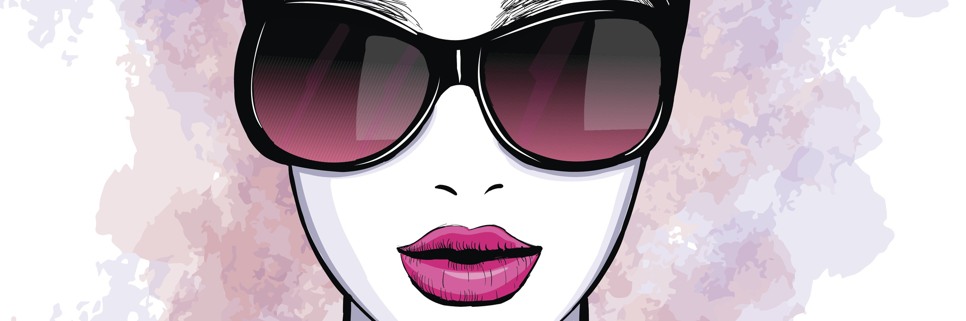 illustration of woman with pink dress and sunglasses