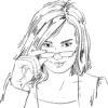 Vector drawing of woman with glasses