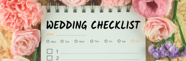 A wedding checklist, surrounded by pink flowers.