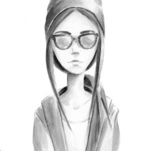 A sketch of a woman wearing sunglasses.